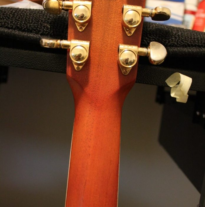 This guitar was damaged during a freak hotel accident (no comment) and the headstock came completely off the neck, a common problem with Gibson tilt-back necks. Can you spot the break?